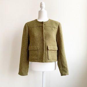 A New Day Blazer Jacket Green Sparkle Tweed Size 8